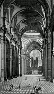 ANTIQUE PRINT: THE NORTH EAST VIEW OF THE NAVE OF THE CATHEDRAL CHURCH OF ST. PAUL.