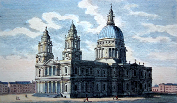 Antique print of St. Pauls Cathedral