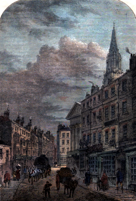 ANTIQUE PRINT: ST. MARTIN'S LANE, 1820.