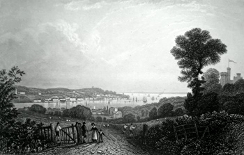 ANTIQUE PRINT: COWES, FROM THE EAST.
