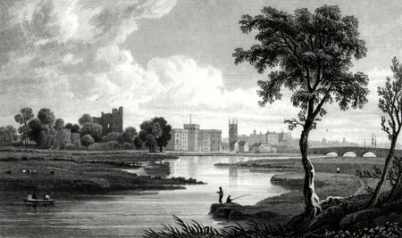 Antique print of Cardiff
