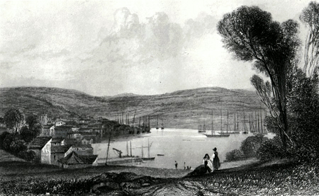 Antique print of Falmouth
