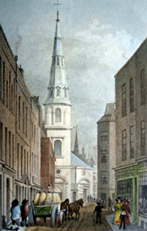 ANTIQUE PRINT: ST. ANTHOLIN, FROM WATLING STREET.