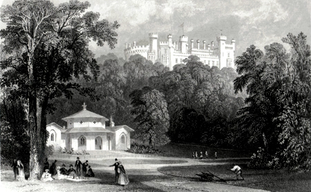 ANTIQUE PRINT: BELVOIR CASTLE, FROM THE DAIRY.