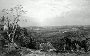 ANTIQUE PRINT: BARDON HILL, LOOKING WEST, LEICESTERSHIRE.