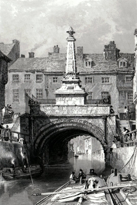 ANTIQUE PRINT: THE HIGH BRIDGE OVER THE WYTHAM, LINCOLN.