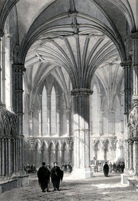 ANTIQUE PRINT: INTERIOR OF THE CHAPTER HOUSE, LINCOLN CATHEDRAL.