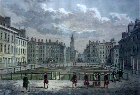 ANTIQUE PRINT: HANOVER SQUARE, IN 1750.