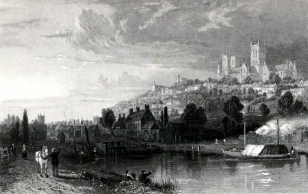 ANTIQUE PRINT: LINCOLN, FROM THE RIVER WITHAM.