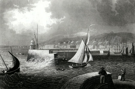 ANTIQUE PRINT: SWANSEA IN ENGLAND.