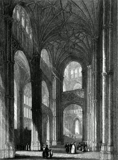 ANTIQUE PRINT: CANTERBURY CATHEDRAL. VIEW IN THE NAVE.