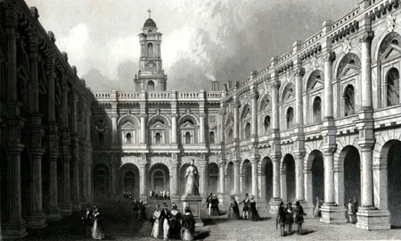 ANTIQUE PRINT: THE QUADRANGLE ROYAL EXCHANGE.