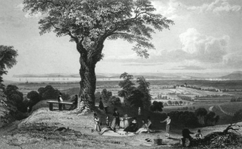 ANTIQUE PRINT: SCENE FROM LAINDON HILL, NEAR HORNDON, ESSEX. THE PROPERTY OF MRS. S. HATTON, TO WHOM THIS PLATE IS RESPECTFULLY INSCRIBED.