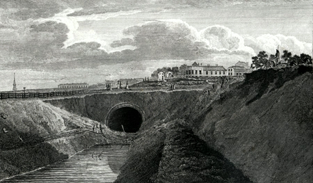 ANTIQUE PRINT: MOUTH OF THE TUNNEL, ON THE REGENT'S CANAL, ISLINGTON.
