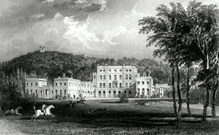 ANTIQUE PRINT: HALDON-HOUSE, DEVONSHIRE. THE SEAT OF SIR LAWRENCE PALK, BART.