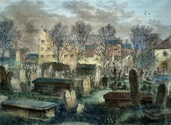 ANTIQUE PRINT: BUNHILL FIELDS BURIAL-GROUND.