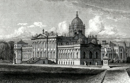 ANTIQUE PRINT: CASTLE HOWARD. (SOUTH EAST VIEW) YORKSHIRE. THE SEAT OF THE EARL OF CARLISLE.