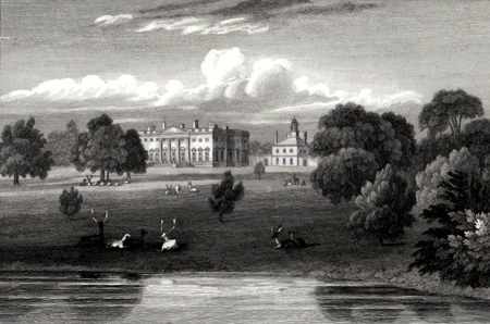 ANTIQUE PRINT: DENTON PARK, (GENERAL VIEW) YORKSHIRE. THE SEAT OF SIR W. C. IBBETSON, BART.