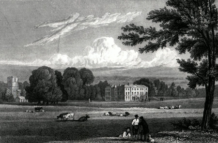 ANTIQUE PRINT: PRESTWOLD HALL, LEICESTERSHIRE.