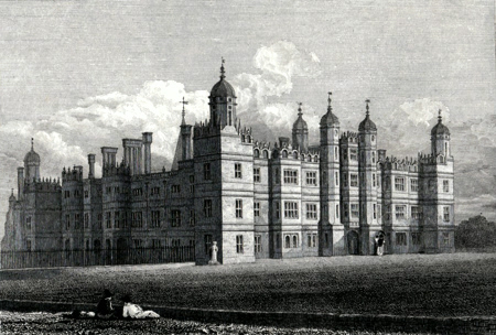 ANTIQUE PRINT: BURLEIGH [BURGHLEY] HOUSE, NORTHAMPTONSHIRE [LINCOLNSHIRE]. THE SEAT OF THE MARQUESS OF EXETER.