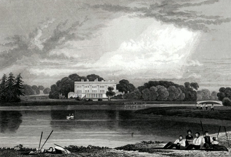 ANTIQUE PRINT: TRENTHAM HALL. GENERAL VIEW : STAFFORDSHIRE.