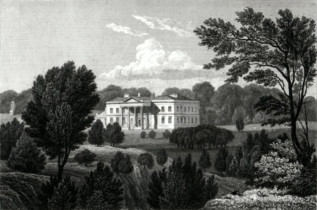 Antique print of Laxton Hall near Corby, Northamptonshire