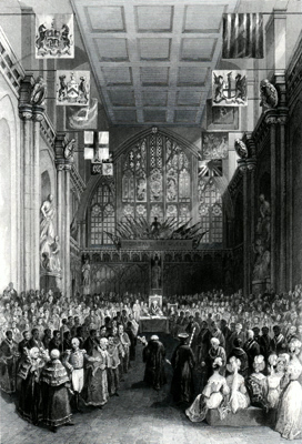 ANTIQUE PRINT: THE GUILDHALL. INSTALLATION OF THE LORD MAYOR ON THE 8TH OF NOVEMBER.