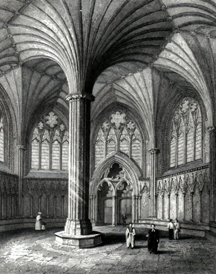 ANTIQUE PRINT: WELLS CATHEDRAL. CHAPTER HOUSE.