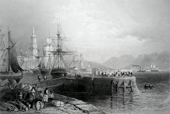 ANTIQUE PRINT: PORT GLASGOW.