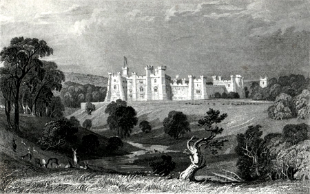 ANTIQUE PRINT: BRANCEPETH CASTLE, DURHAM. THE SEAT OF WILLIAM RUSSEL, ESQ.