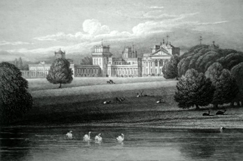 ANTIQUE PRINT: BLENHEIM, VIEW TAKEN FROM ROSAMOND'S WELL, OXFORDSHIRE.