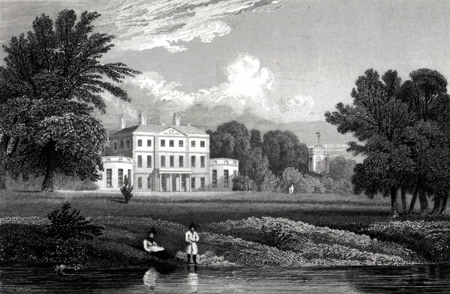 ANTIQUE PRINT: BISHTON HALL. STAFFORDSHIRE.