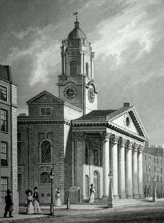 ANTIQUE PRINT: ST. GEORGE'S, HANOVER SQUARE.