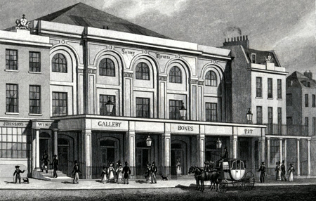 ANTIQUE PRINT: SURRY THEATRE, BLACKFRIARS ROAD.