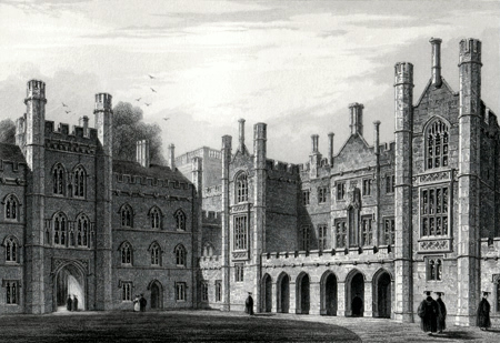 ANTIQUE PRINT: NEW COURT, TRINITY COLLEGE  [CAMBRIDGE].