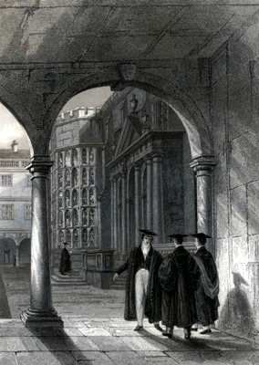 ANTIQUE PRINT: TRINITY COLLEGE. VIEW FROM THE S.E. ANGLE OF THE CLOISTERS [CAMBRIDGE].