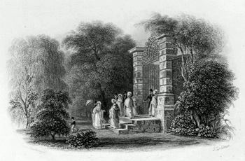 ANTIQUE PRINT: ENTRANCE TO THE BOTANIC GARDEN [CAMBRIDGE].