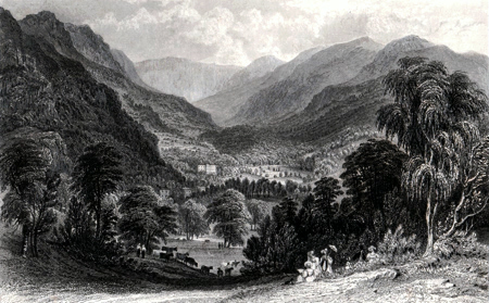 ANTIQUE PRINT: RYDAL HALL FROM FOX ROW, WESTMORLAND.