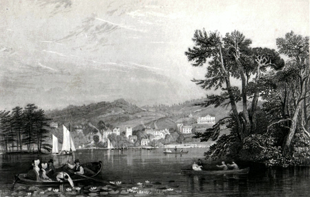 ANTIQUE PRINT: BOWNESS, FROM BELLE ISLE, WINDERMERE.