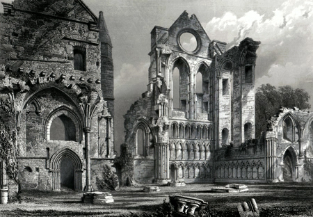 ANTIQUE PRINT: ABERBROTHOC. THE CHAPTER HOUSE AND SOUTH TRANSEPT.