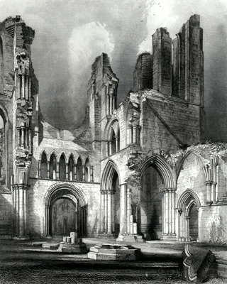 ANTIQUE PRINT: ABERBROTHOC ABBEY. INTERIOR OF THE WEST END.