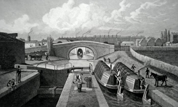 ANTIQUE PRINT: THE DOUBLE LOCK, & EAST ENTRANCE TO THE ISLINGTON TUNNEL, REGENT'S CANAL. TO COLONEL DRINKWATER THIS PLATE IS MOST RESPECTFULLY INSCRIBED.