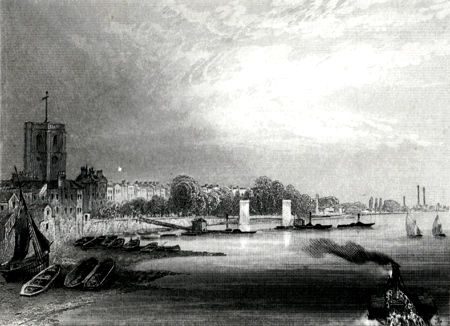 ANTIQUE PRINT: CHELSEA, FROM BATTERSEA BRIDGE.