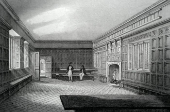 ANTIQUE PRINT: THE HALL OF ABBOTT'S HOSPITAL, GUILDFORD.