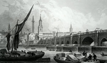 ANTIQUE PRINT: OLD LONDON BRIDGE, FROM SOUTHWARK.