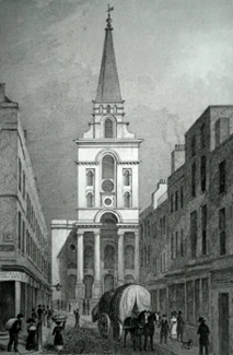 Antique print of Spitalfields, London