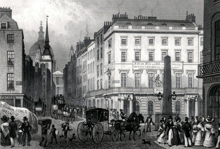 Antique print of Ludgate Hill