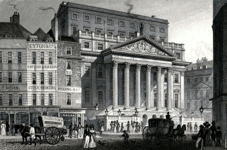 Antique print of the Mansion House, City of London