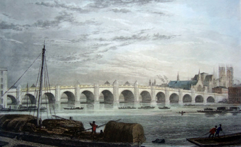Antique print of Westminster Bridge