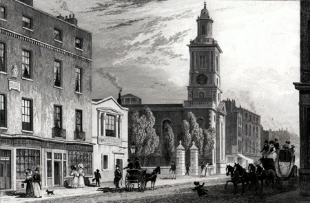 Antique print of Bishopsgate after Thomas Hosmer Shepherd